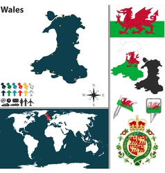 Wales map world vector image