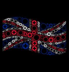 Waving united kingdom flag pattern of pharmacy vector