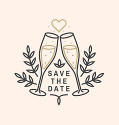 wedding invitation card template thin vector image