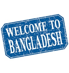 welcome to Bangladesh blue square grunge stamp vector image
