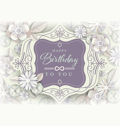 white floral greeting card birthday card with vector image