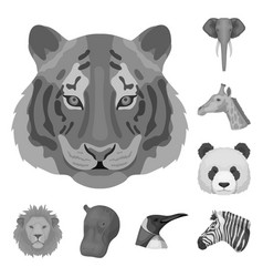 wild animal monochrome icons in set collection for vector image