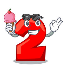 With ice cream character number two on wooden door vector