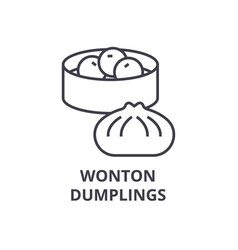 wonton dumplings line icon outline sign linear vector image
