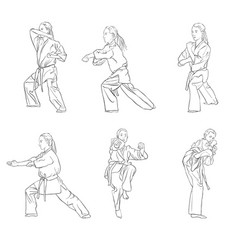 Young karate girl vector