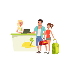 young tourist couple at hotel reception desk with vector image