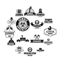 Zombie logo icons set simple style vector