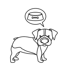 Black contour with beagle dog thinkin food vector
