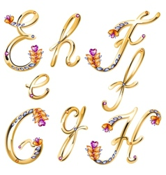 Bronze alphabet with colored gems letters EFGH vector image vector image