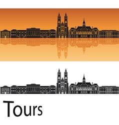 Tours skyline in orange background vector image