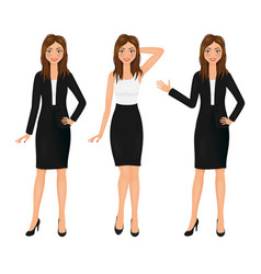 attractive business woman set girl in suit vector image