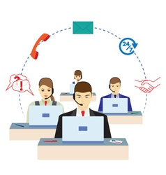 People working in a call center Support service vector image vector image