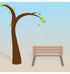Spring tree with bench vector image vector image