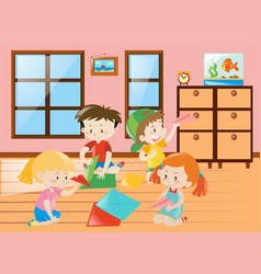 four kids folding airplane paper in group vector image vector image