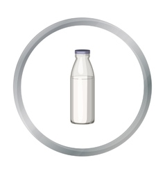 Glass milk bottle icon in cartoon style isolated vector image