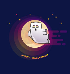 happy halloween card with funny flying ghost and vector image