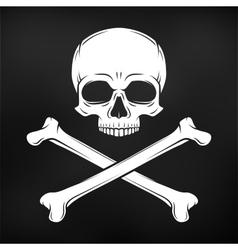 Human evil skull on black background vector image vector image