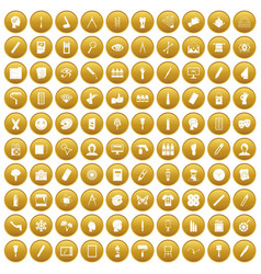 100 paint icons set gold vector