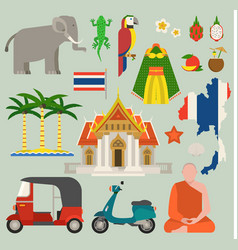 travel thailand flat icons design vector image