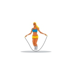 Young girl jumping rope sign vector image vector image
