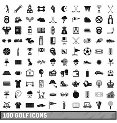 100 golf icons set simple style vector