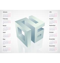 2016 emblem with calendar schedule vector