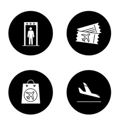 Airport service glyph icons set vector