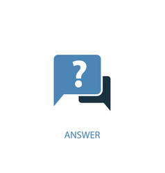 answer concept 2 colored icon simple blue element vector image