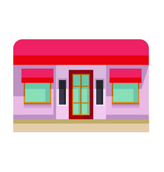 art red facade of a building on a white background vector image