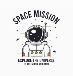astronaut in space - design for t-shirt vector image