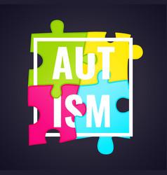 autism awareness frame poster vector image