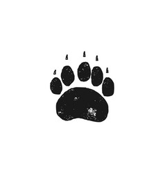 Bear footprint wild animal paw in silhouette vector