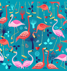 beautiful pattern lovers flamingos vector image