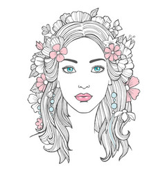 Beautiful woman portrait mysterious drawing vector