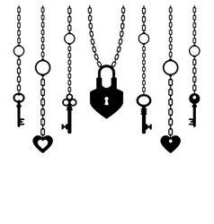 Black silhouette of padlock and keys with chain vector