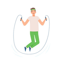 Brunette man is jumping rope vector