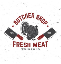 butcher meat shop badge or label with turkey and vector image