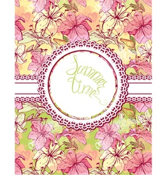 Card with hand drawn flowers - tiger lilly floral vector