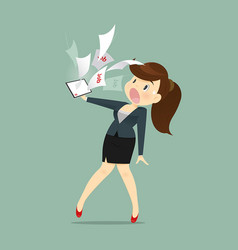 cartoon business woman shocked and tired vector image