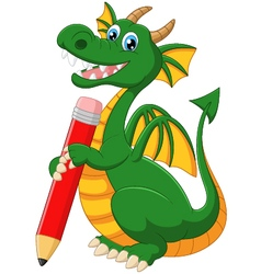 Cartoon dragon holding red pencil vector image