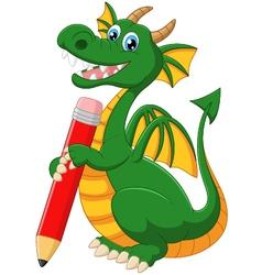 Cartoon dragon holding red pencil vector