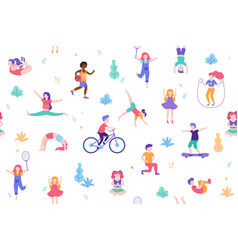 children doing activities and sports in flat vector image