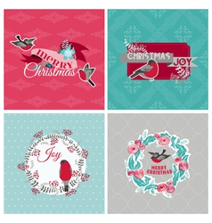 Christmas Cards with Birds and Wreath vector