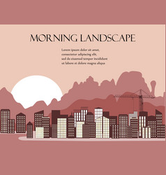 City at coastline on mountains background vector