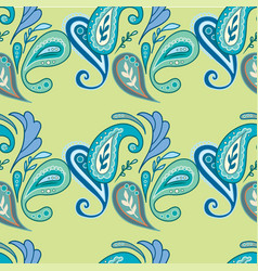 Classic paisley pattern in green and blue vector
