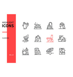 cleaning services - line design style icons set vector image