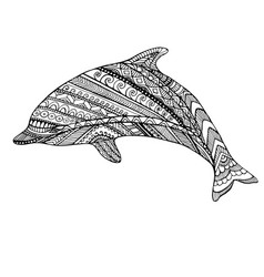 coloring page dolphin vector image