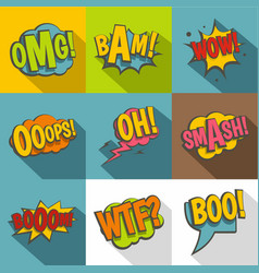 Comic speech bubbles icon set flat style vector