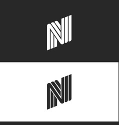 Creative monogram letter n logo black and white vector