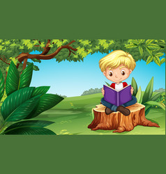 cute boy reading book in park vector image